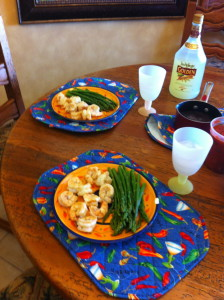 Our favorite meal of shrimp, asparagus, and Margaritas