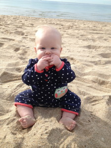 No matter how much you baby proof, they're still gonna eat the sand!